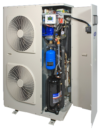 A heat pump with two fans