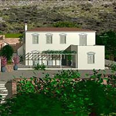 A photo of Hydra-luxury house in Corfu island shot from far.